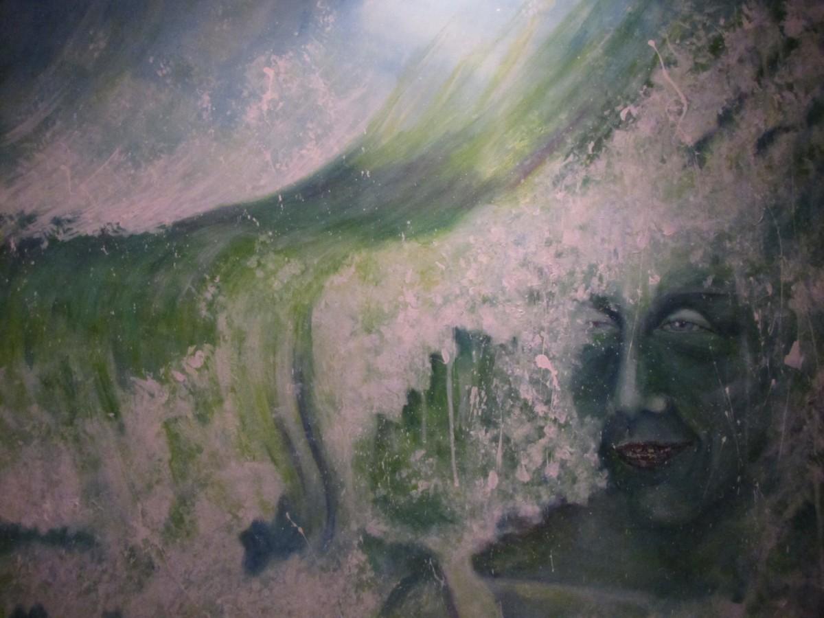 Overspoeld schilderij