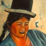 Vrouw met bolhoed
