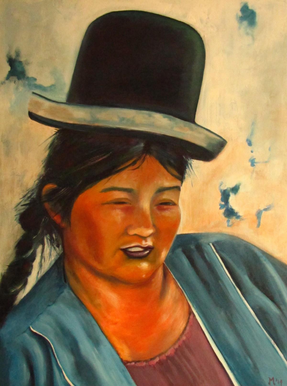 Vrouw met bolhoed schilderij
